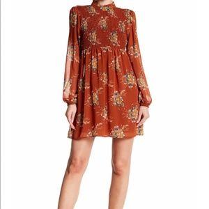 Burnt Orange As U Wish Floral Ruched Sheer Dress S